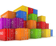 Colorful containers. Set of colorful containers. 3d rendered illustration Stock Image