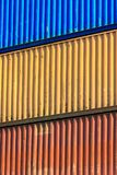 Colorful containers stacked in port. Royalty Free Stock Photos