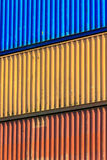Colorful containers stacked in port. Stock Photo