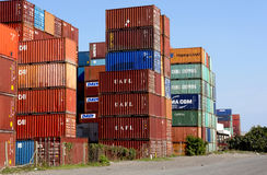 Colorful Containers Stacked And Stored at Harbor Stock Photos