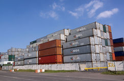 Colorful Containers Stacked and Stored Near Harbor Stock Photo