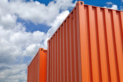 Colorful containers for transport. Warehouse with colorful containers for transport Royalty Free Stock Photography