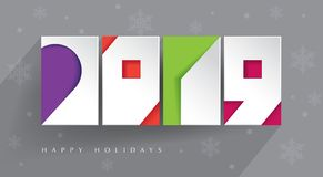 Happy 2019 holidays. Colorful, contemporary design. Four color blocks and white paper 2019 cut-outs on gray background with long shadow. Happy Holidays. New vector illustration
