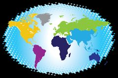 Colorful Continental World Map. Vector of Colorful Continental World Map Royalty Free Stock Images