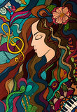 Colorful contrast hand drawn girl and melody. Stock Photo