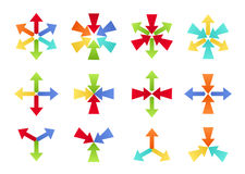 Colorful Converging and Diverging Shapes. Set of colorful converging and diverging shapes in different colors and layouts royalty free illustration