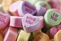 Colorful Conversation Hearts Candy. For Valentines Day royalty free stock image