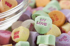 Colorful Conversation Hearts Candy. For Valentines Day stock images