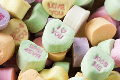 Colorful Conversation Hearts Candy. For Valentines Day royalty free stock images