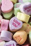 Colorful Conversation Hearts Candy. For Valentines Day stock photos
