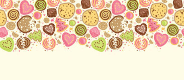Colorful cookies horizontal seamless pattern Royalty Free Stock Photography