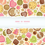 Colorful cookies horizontal torn frame seamless pattern background Stock Photography