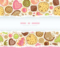 Colorful cookies vertical torn frame seamless pattern background Stock Photos