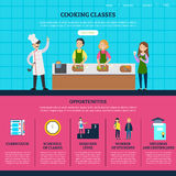 Colorful Cooking Classes Web Page Template. With people preparing different meals and course opportunities and advantages vector illustration Stock Image