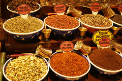 Colorful cooking spices. Colorful display of different spices on a market in Istanbul Royalty Free Stock Photography