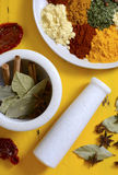Colorful Cooking Spices On Wooden Table Stock Image