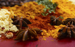 Colorful Cooking Spices On Wooden Table Stock Photography