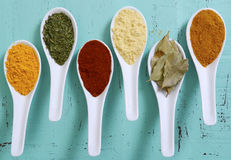 Colorful Cooking Spices On Wooden Table Royalty Free Stock Photography