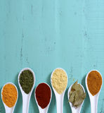 Colorful Cooking Spices On Wooden Table Royalty Free Stock Image