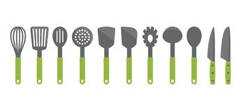 Colorful cooking utensil set of tools. Kitchen tools vector cartoon icons. vector illustration