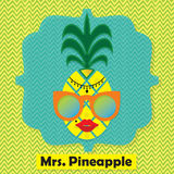 Colorful cool Mrs. Pineapple fruit emblem icon on chevron pattern. Colorful cool Mrs. Pineapple fruit emblem icon on yellow and green chevron pattern background Stock Images