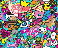 Colorful cool stickers with girl crew and cherry bomb inscriptions vector illustration