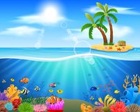 Colorful coral reef with fish on a blue sea. Background. illustration Stock Images