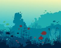 Coral reef, fish and underwater sea. Colorful coral reef with silhouette of fishes on a blue sea background. Vector seascape illustration. Underwater ocean life Royalty Free Stock Photos