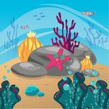 Coral reef and underwater world vector illustration Royalty Free Stock Photos