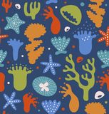Colorful coral reefs seamless pattern, decorative tropical marine background, vector nautical texture. Stock Photo