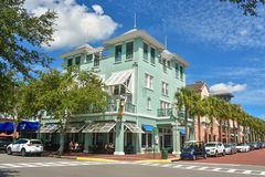 Colorful corner at Celebration Town in Kissimmee area. royalty free stock photo