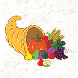 Colorful Cornucopia. Vector Sketch Collection of Colorful Cornucopia Royalty Free Stock Image