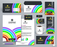 Colorful corporate identity template with arc and circles. Professional branding design kit with color rainbow, circles, lines, sectors on dark and white Stock Images