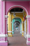 Colorful corridor Arch. Penang Heritage colorful Corridor Arch Royalty Free Stock Image