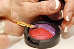 Colorful cosmetic with brush. And female fingers Stock Images