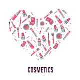 Colorful cosmetic items banner  on white background in shape of heart. Top view. Make-up illustration. Stock Images