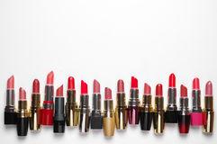 Colorful cosmetic lipsticks set Stock Images
