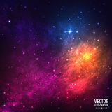 Colorful Cosmic Background with Light, Shining. Stars, Stardust and Nebula. Vector Illustration for artwork, party flyers, posters, banners royalty free illustration