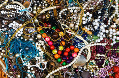 Colorful costume jewellery background Stock Photo