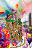 Colorful costume in Quito Festivities' parade. Colorful costume with jewelry in Quito Festivities' parade Royalty Free Stock Photo