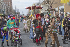 Colorful, Costumed Mardi Gras Paraders Stock Images