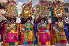 Colorful costumes at Corpus Christi parade in Pujili Royalty Free Stock Images