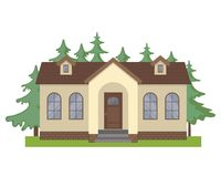 Colorful cottage house icon in flat style. Colorful cottage house isolated on white background. Flat Design Urban Landscape. Modern building architecture icon Stock Photography