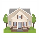 Colorful cottage house icon in flat style. Royalty Free Stock Photo