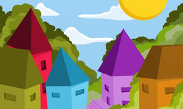 Colorful cottages day Stock Photos