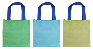 Colorful cotton bag isolated on white Royalty Free Stock Image