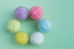 Colorful cotton candy in plastic cup Royalty Free Stock Photography