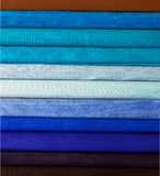 Colorful cotton fabric. Fine fabrics beautiful silk Stock Images