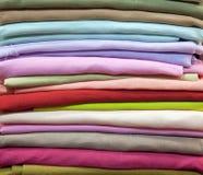 Colorful cotton fabric. Fine fabrics beautiful silk Stock Photos