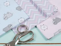 Colorful cotton fabric, meter and scissor Royalty Free Stock Images